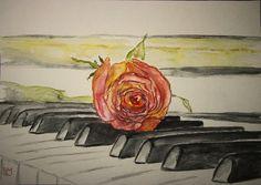 """""""Roses"""" - wasservermalte Supracolor II soft von Caran d'Ache und Schmincke Künstlerfarben Horadam auf Hahnemühle Veneto 300g rauh © Wandklex Ingrid Heuser künstlerische Wandbemalung Ratzeburg Germany"""