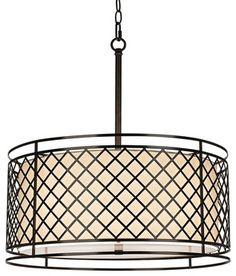 "Contemporary Metal Lattice 4-Light 20 1/4"" Wide Bronze Pendant Light contemporary-chandeliers"