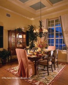 """Dining Room. The Sater Design Collection's luxury, farmhouse home plan """"Hammock Grove"""". #houseplans"""