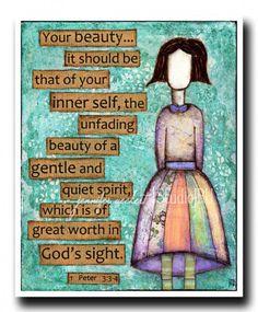 Inspirational Christian Art Girl Unfading Beauty by studiojru, $18.00