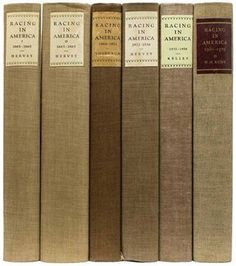 There's something so lovely about these linen book spines. This is a collection of first edition, illustrated books called Racing in America 1665-1979. These books were privately printed for The Jockey Club of New York. #beautifulbooks #passionforbooks #bookspines
