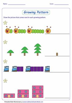 Math pattern worksheets with different levels for ages K-8.
