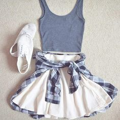 Gray Tank and White Skirt with Flannel and White Vans