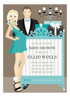 Blue Blonde Classic Crib Couple Invitation