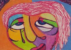 BIPOLAR BRUT ART ORIGINAL ACEO OUTSIDER NAIVE RAW FACE MINIATURE SMALL ABSTRACT    Art, Art Drawings   eBay!