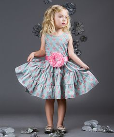 Look at this Blue & Pink Floral Tiered Rose Dress - Toddler & Girls on #zulily today!