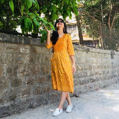 Mustard Ikat Frock Dress ikat fit and flare short dress, a dress combining two different patterns of ikat weave in one Western Dresses For Women, Frock For Women, Night Dress For Women, Casual Frocks, Casual Dresses, Short Dresses, Casual Cotton Dress, Kalamkari Dresses, Ikkat Dresses