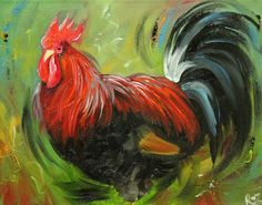 Rooster 730 11x14 inch animal portrait original oil painting by Roz
