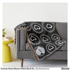 Custom Sweet Hearts White Black Pattern Throw Blanket.