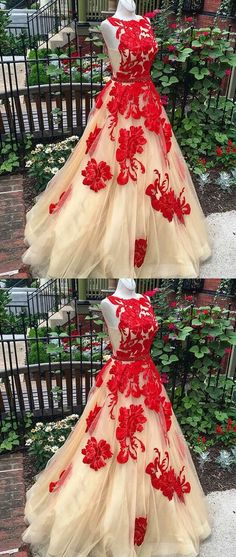 CHAMPAGNE A-lLINE APPLIQUES TULLE LONG PROM DRESS EVENING DRESS #champagnetullepromdresses #prom #dresses #longpromdress #promdress #eveningdress #promdresses #partydresses