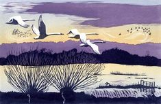 Winter Swans linocut 19.5 x 30 cm £150. Niki Bowers