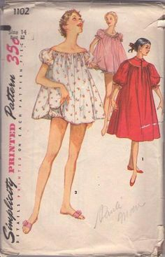 MOMSPatterns Vintage Sewing Patterns - Simplicity 1102 Vintage 50's Sewing Pattern DARLING Short Flared Sissy Shortie Pajamas, Tent Smock Top, Bloomers Brief Panties with Mushroom Gusset, Peignoir Robe House Coat SIze 14