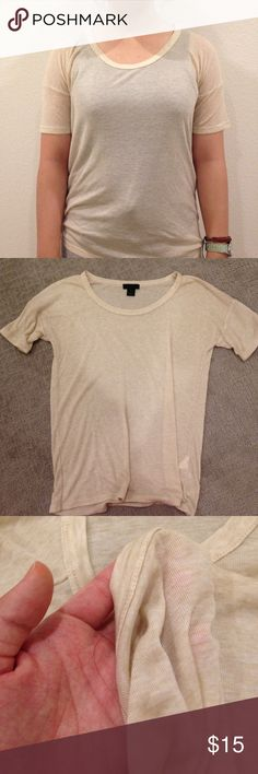Jcrew 10% t-shirt (NWOT) Not your average t-shirt; very high quality, fine knit t shirt in a classic natural color. Fits tts, in a very stylish cut. Not worn without tags. J. Crew Tops Tees - Short Sleeve