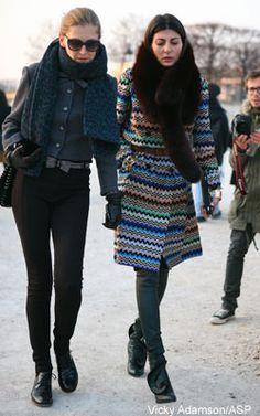 Giovanna Battaglia editor of L'Uomo Vogue wearing Missoni Cardi-coat. Shop Missoni here: http://www.lineafashion.com/store/womens-missoni-21