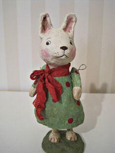 RESERVED   Rabbit - papier mache- folk art- handmade art doll- folk art- ooak doll- polka dots