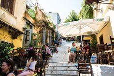 Restaurants on the Plaka stairs