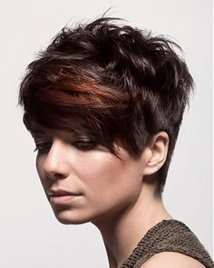A short brown straight coloured multi-tonal messy Womens haircut hairstyle by Diva