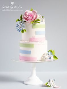 Two Tiered Cakes – Made With Love (by me) Cake Icing, Fondant Cakes, Cupcake Cakes, Wedding Cake Designs, Wedding Cupcakes, Beautiful Wedding Cakes, Beautiful Cakes, Bolo Floral, Striped Cake