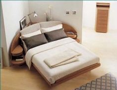 Love the bed in the corner of the room