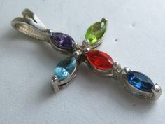 Vintage Sterling Silver Multiple Gemstone Cross Pendant with Six Gems by HipTrends2015 on Etsy