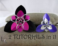 Chainmaille Tutorial - Looner Creations Trillium Scale Flower Chainmaille tutorials in Large and Small scales - Jewelry Making Tutorial