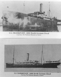 Top: S.S. Frankfurt from Bremen April 30 1903 to Baltimore May 14, 1903.  Ship of Jacob Leber, Anna Roos Leber, and two youngest sons, Peter and Joseph Leber.  Bottom: S.S. Darmstadt from Bremen March 25, 1905 to Baltimore April 8, 1905.  Ship of Martin Wind, Elizabeth Leber Wind and children Eva, Jacob, Catherine, Elizabeth and Anna Wind.