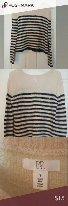 Tan Sweater with Black Stripes Soft and Comfy Sweater from Nordstrom.  Worn one time.  Perfect Condition! BP Sweaters Crew & Scoop Necks