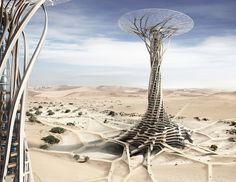 Китайские архитекторы предложили концепцию небоскрёба-гриба в Сахаре. Изображение №1.
