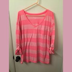 Pink striped reposh shirt ⭐️⭐️⭐️welcome to my closet. I do not trade so please do not ask. Also, no lowball offers I will ignore. I still love offers just no lowball. It is offending. Any questions please ask. Thanks for Looking!!⭐️⭐️⭐️⭐️ Lane Bryant Tops