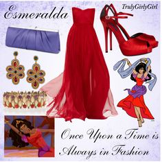Disney Style: Esmeralda created by trulygirlygirl Disneybound Outfits, Disney Character Outfits, Disney Princess Outfits, Disney Themed Outfits, Character Inspired Outfits, Disney Dresses, Disney Couture, Disney Prom, Disney Weddings