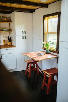 Tiny House Builders - Wind River Tiny Homes - White Kitchen Interior Fold Out Table