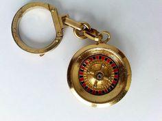 Vintage Monte Carlo Casino Roulette Keychain Key Chain Souvenir - Spins!   eBay