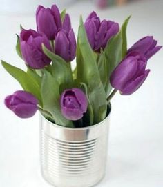 You put tulips in a vase and they'll go where they wish to. If your tulips feel a little stiff don't worry, they'll begin to relax in only a couple of hours! Order Flowers, My Flower, Flower Power, Beautiful Flowers, Deco Nature, Purple Tulips, Deco Floral, All Things Purple, Spring Flowers