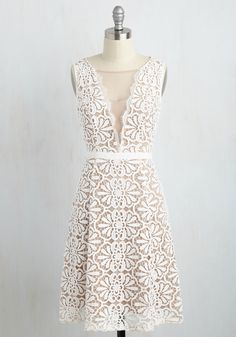 Find Me in the Country Club Dress - White, Tan / Cream, Solid, Special Occasion, Wedding, Daytime Party, Bride, A-line, Sleeveless, Woven, Lace, Best, Mid-length
