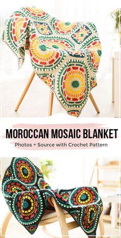 crochet Moroccan Mosaic Blanket pattern – easy crochet blanket pattern for beginners, – Knitting Blanket 2020 Crochet Bobble, Easy Crochet Blanket, Crochet For Beginners Blanket, Crochet Motifs, Afghan Crochet Patterns, Crochet Doilies, Knitting Patterns, Crochet Blankets, Doily Patterns