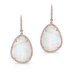 14kt rose gold organic moonstone diamond earrings (2 190 AUD) ❤ liked on Polyvore featuring jewelry, earrings, diamond jewelry, rose gold jewellery, moonstone jewellery, diamond earrings and rose gold jewelry