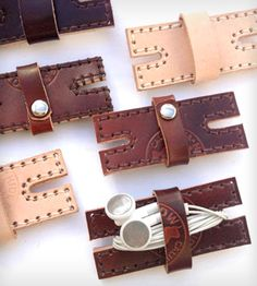Leather Earbud Organizer in Women's by Hide and Tallow on Scoutmob Shoppe. This cool little doodad is handmade from premium vegetable-tanned leather to keep your tangled wires in check. #earbud #leather #gadget