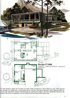Mid Century Modern Vacation Home! Expand the right-hand side of the house to add laundry room/powder room. Remix bedrooms on back side of upper level. Shift kitchen to front of house. Add terrace across the front level.  Add separate new garage with enclosed breezeway to house. Use lower garage space and create family room across the front of the lower level.  Add two bedrooms and full baths across the back.