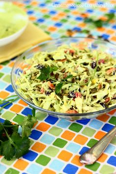 Southwestern Cole Slaw with Avocado Dressing and Pepitas | Cinnamon Spice & Everything Nice