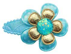 Haarspeldje 3cm blauw met gouden bloem. www.stijlicoontjes.nl