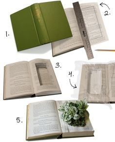 So excited to find the tutorial for this. Books + Plants + Recycling = Everything we love. Book Art, Crafts To Make, Diy Crafts, Adult Crafts, Craft Night, Diy Planters, Altered Books, Book Crafts, Nursery Rhymes