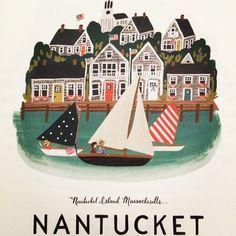 Vintage travel poster Nantucket USA