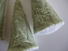 Felted Wool White and Green Christmas Ornament by afofo on Etsy, $7.00