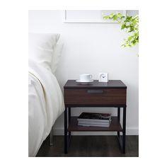 TRYSIL Nightstand, dark brown, black dark brown/black 17 3/4x15 3/4