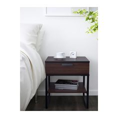 TRYSIL Bedside table - dark brown/black - IKEA - 45x40x53h - a tad low. Would suit the shabby 50s meets 70s style we're going for. $25