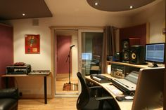 control room and vocal booth behind the curtain