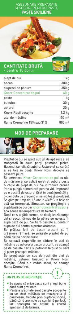 Asezonare preparate si sosuri pentru paste (III) - RETETE Paste, Bacon, Vegetables, Food, Essen, Vegetable Recipes, Meals, Yemek, Pork Belly