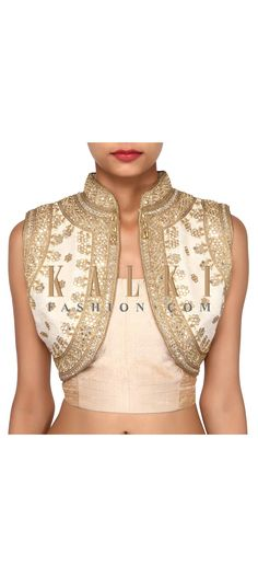 Buy Online from the link below. We ship worldwide (Free Shipping over US$100). Product SKU - 275666. Product Link - http://www.kalkifashion.com/off-white-shrug-adorn-in-mirror-and-resham-embroidery-only-on-kalki.html