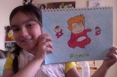 Tutorial de dibujo para niños. Dibuja a Ponyo con crayones de cera.