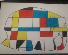 elmer mondrian 8 Plus Piet Mondrian, Wayne Thiebaud, Elmer The Elephants, Pop Art, Keith Haring, 6th Grade Art, Sampler Quilts, Geometry Art, Painting Collage